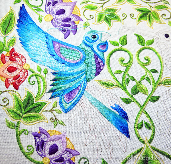 Fishbone Stitch to Embroider Feathers