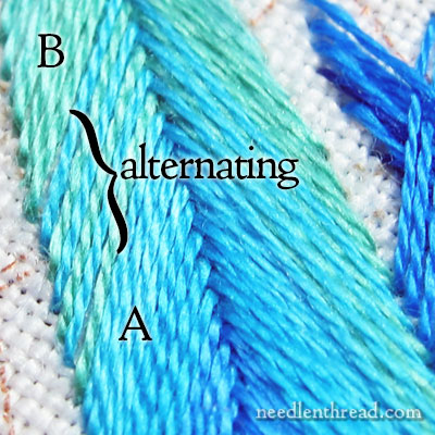 Fishbone Stitch for Embroidered Feathers