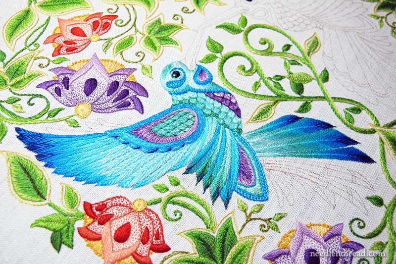 Embroidered Feathers on Hummingbird Tail
