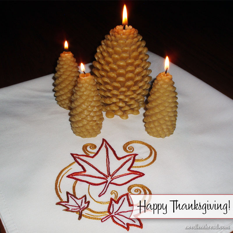 Happy Thanksgiving! Embroidered Autumn Leaves
