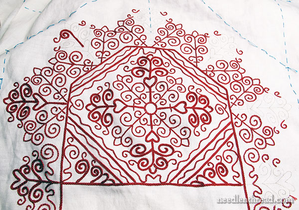 Hungarian Redwork Embroidery Table Runner