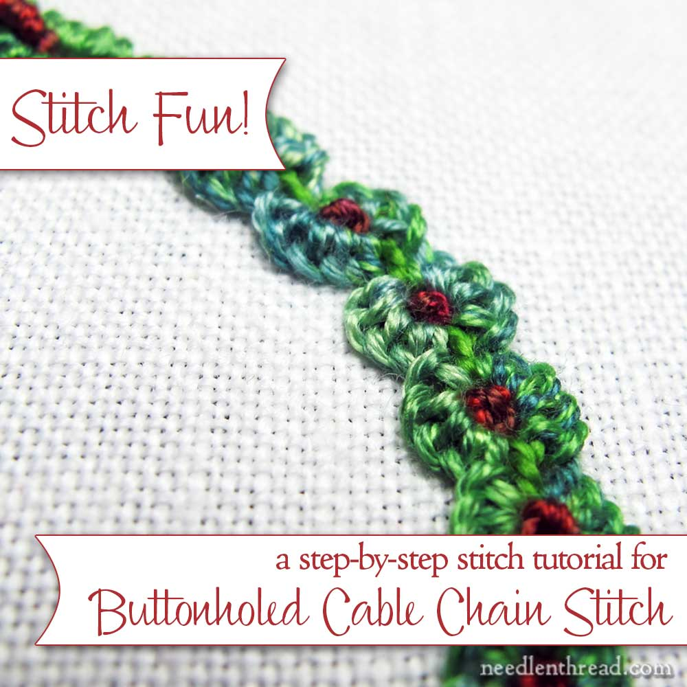 Buttonholed Cable Chain Stitch with Knots
