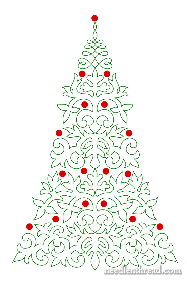 Embroider a christmas tree needlenthread