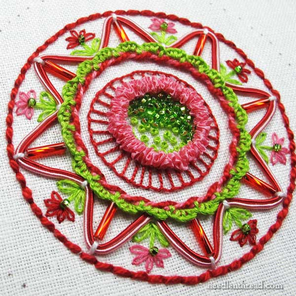 How to Embroider and Finish a Christmas Ornament using materials in your stash