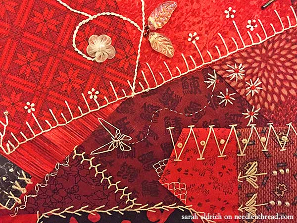 Red Crazy Quilt Square