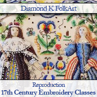 Diamond K FolkArt 17th Century embroidery classes