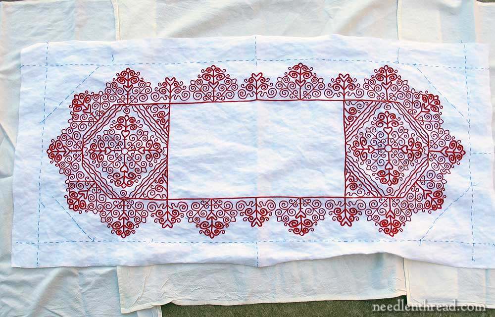 Hungarian Redwork Runner, Embroidery Finished