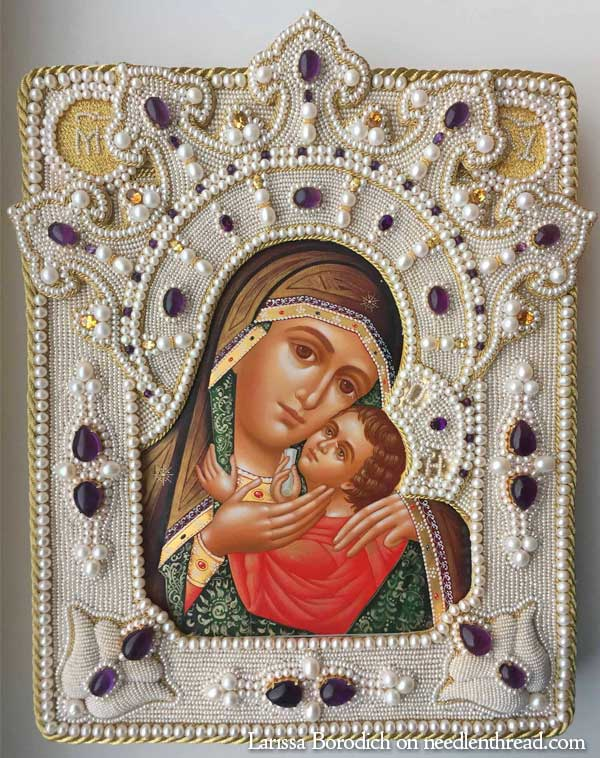 High Relief Bead Embroidery on an Icon Frame