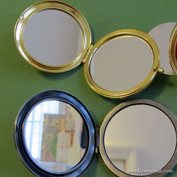 Mirror Compacts for Mounting Embroidery