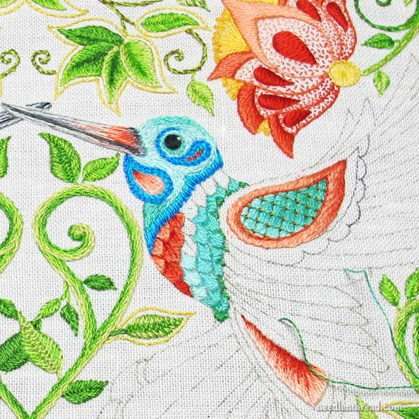 Hand Embroidered Hummingbirds, Color and Balance