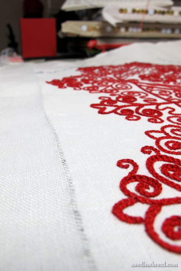 Hungarian Redwork Runner - preparing for a drawn thread hem