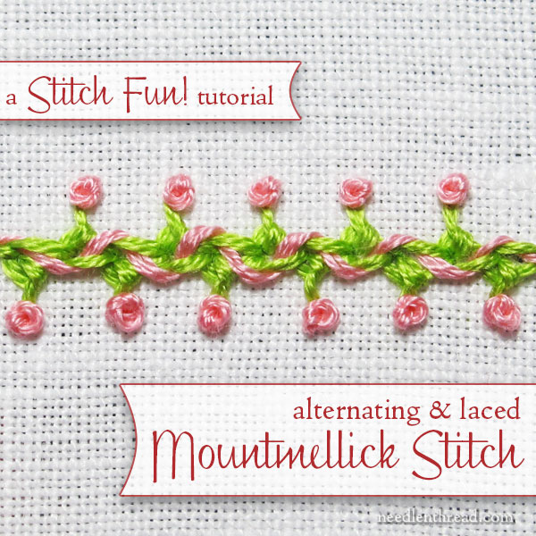 Mountmellick stitch, alternating and laced - tutorial