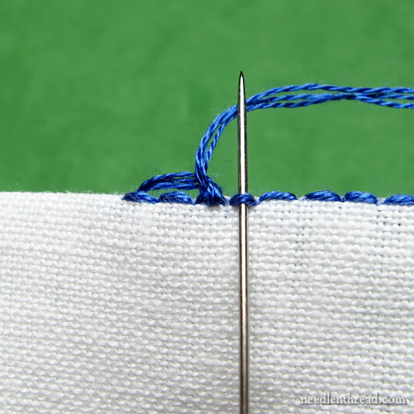 Scalloped & beaded buttonhole stitch edging using seed beads
