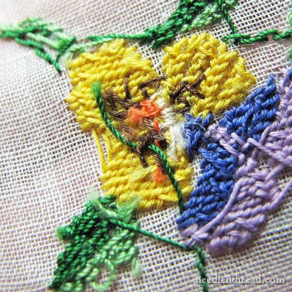 Hand embroidered vintage handkerchief with violas in tent stitch