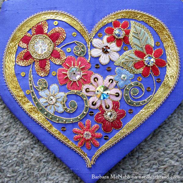 Have a heart…embroidered with flowers goldwork