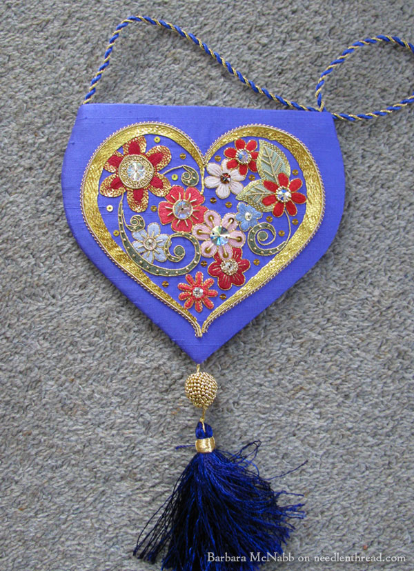 Embroidered Heart with Flowers and Goldwork