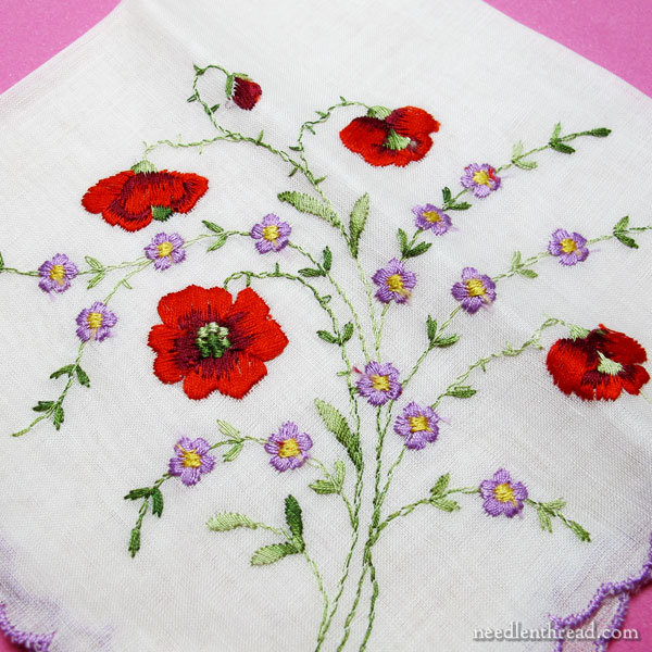 Machine Embroidery on a Vintage Handkerchief