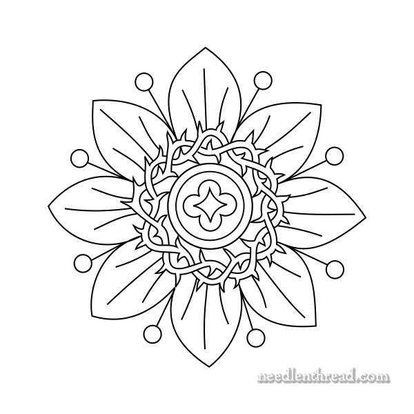 Passion Flower Line Drawing : Small passion flower free hand embroidery pattern