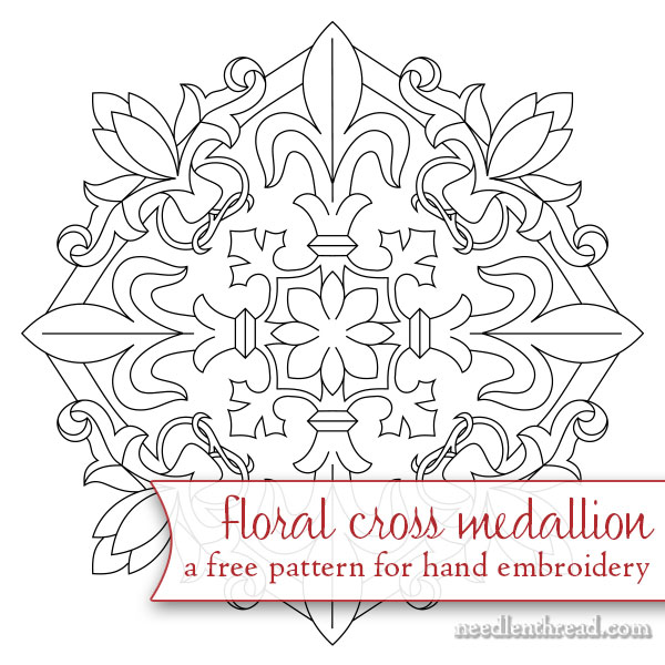 Free Hand Embroidery Pattern: Floral Cross Medallion