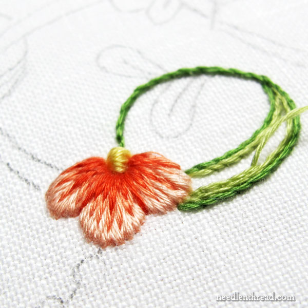 Using floche embroidery thread for long and short stitch