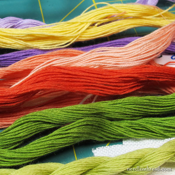 Linen for embroidering stitch samples