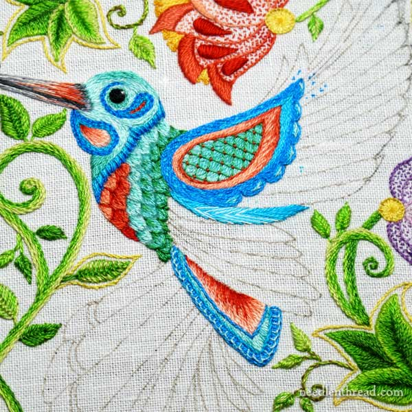 Secret Garden Embroidery Hummingbirds