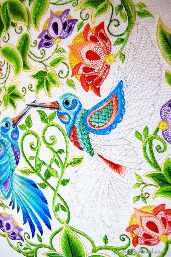 Secret Garden Embroidery Hummingbirds