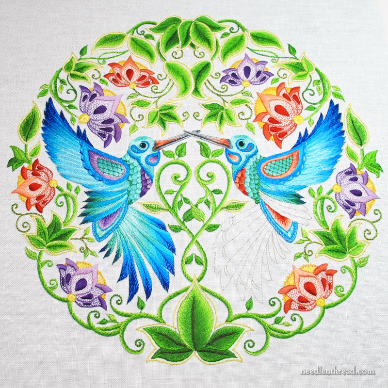 Secret Garden Hummingbirds Embroidery Project