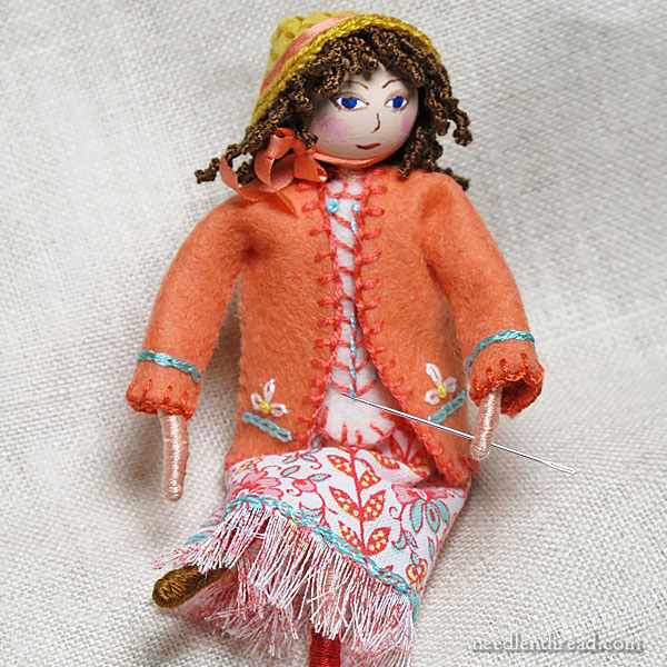 Bendable Doll with Felt Clothes, Embroidery