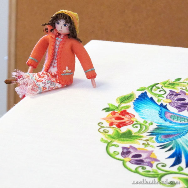 Adding curly hair to figures in stumpwork or small dolls