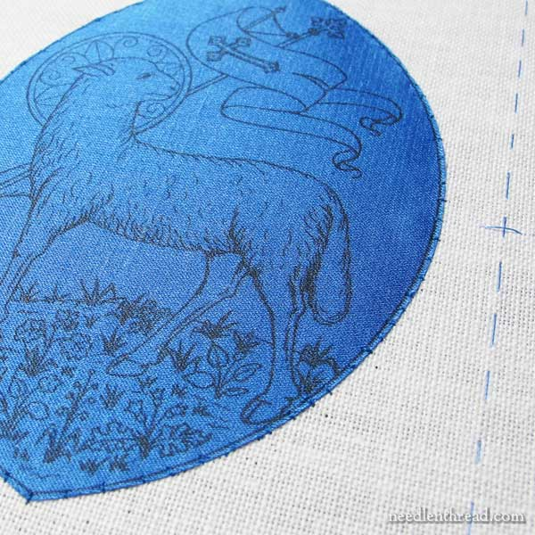 Setting up an embroidered book cover project