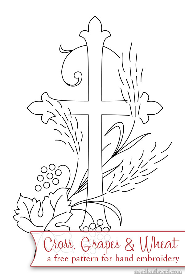 Free hand embroidery pattern for Bible cover: cross, grapes, wheat