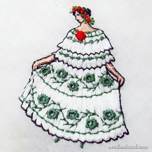 Whimsical charming figure embroidery on hankies