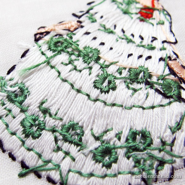 Hand Embroidered Figures on Handkerchiefs