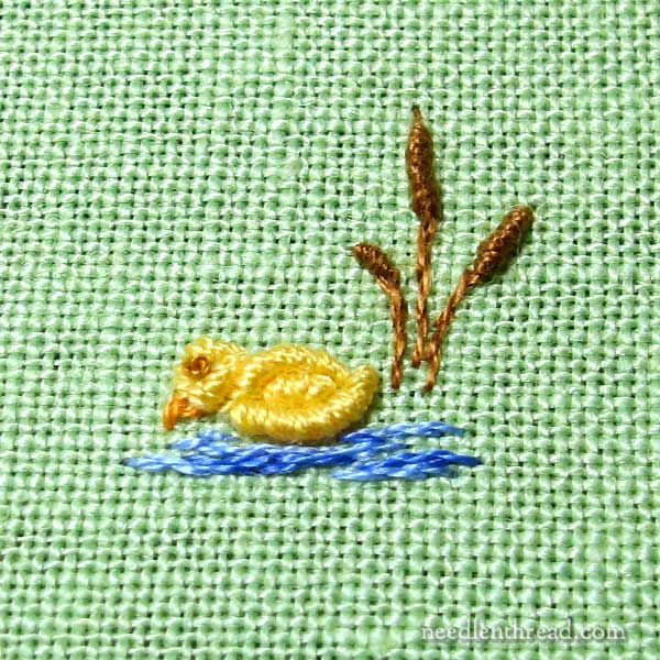 Bullion Knot Hand Embroidered Ducks for Baby Gifts