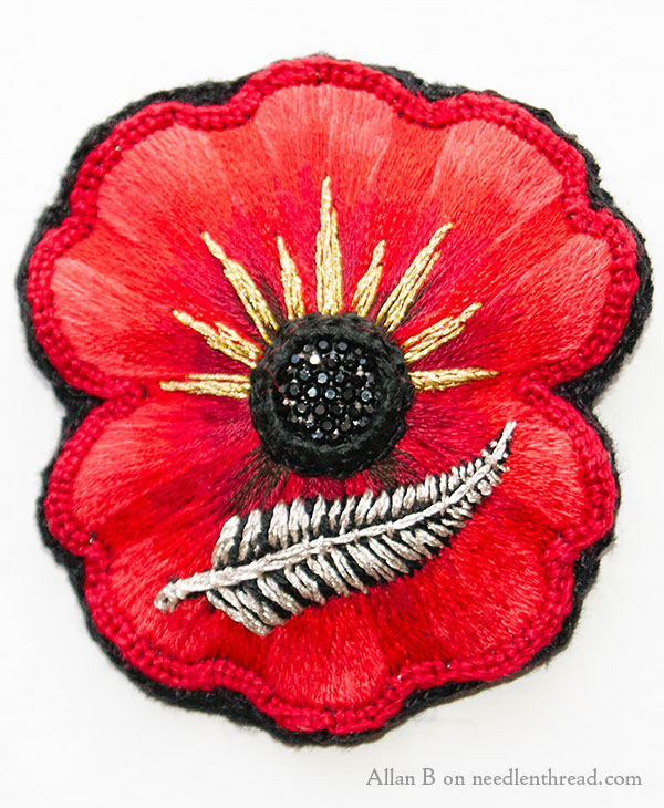 Hand Embroidered Poppy
