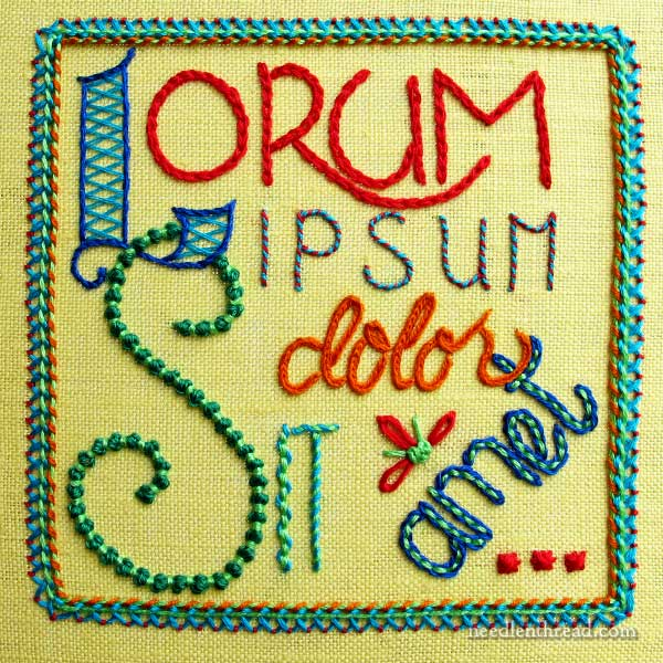 Hand Embroidered Quote: Lorum Ipsum