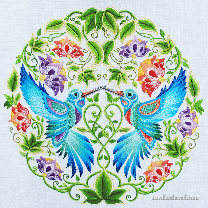 Secret Garden Hummingbirds embroidery project - final stitches