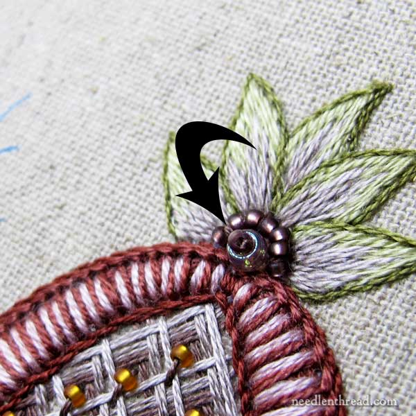 Late Harvest embroidery project - filling stitches under magnification