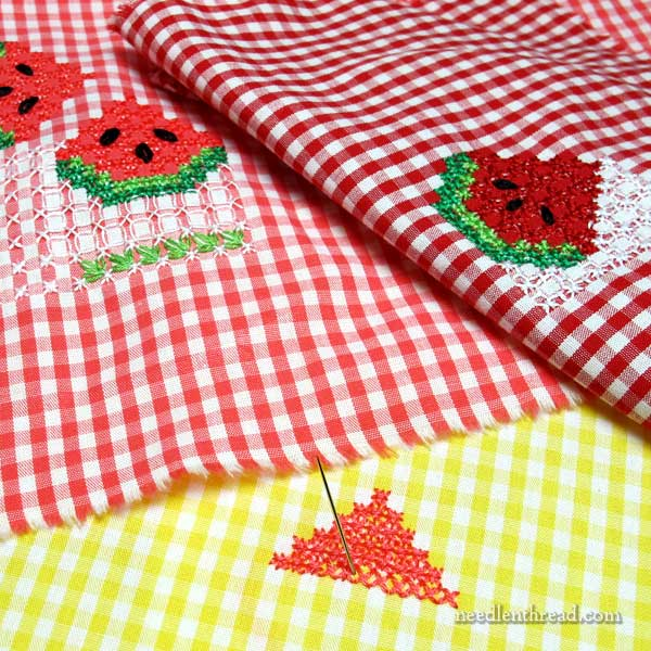 Watermelon gingham embroidery