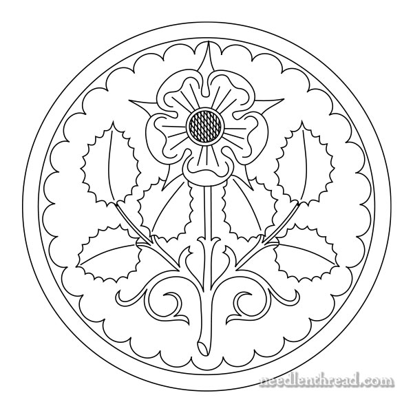 Rose rondelle free hand embroidery pattern