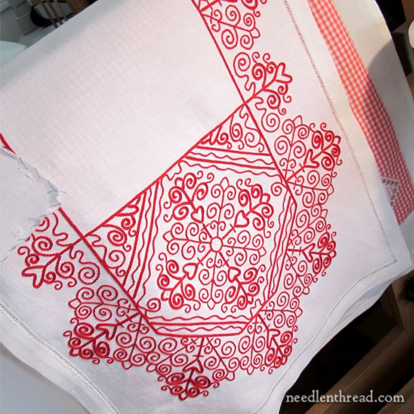 Hungarian Redwork Embroidery Table Runner - Finished