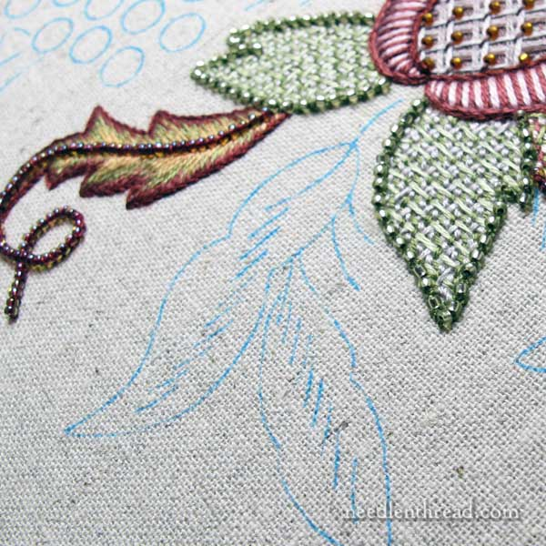 Late Harvest Embroidery Project - long and short stitch with beads