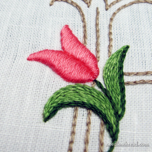 R Monogram with Tulip, embroidered with floche