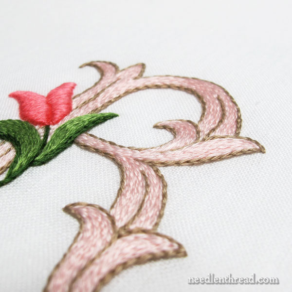 Hand Embroidered Monogram R with Tulip - worked in floche