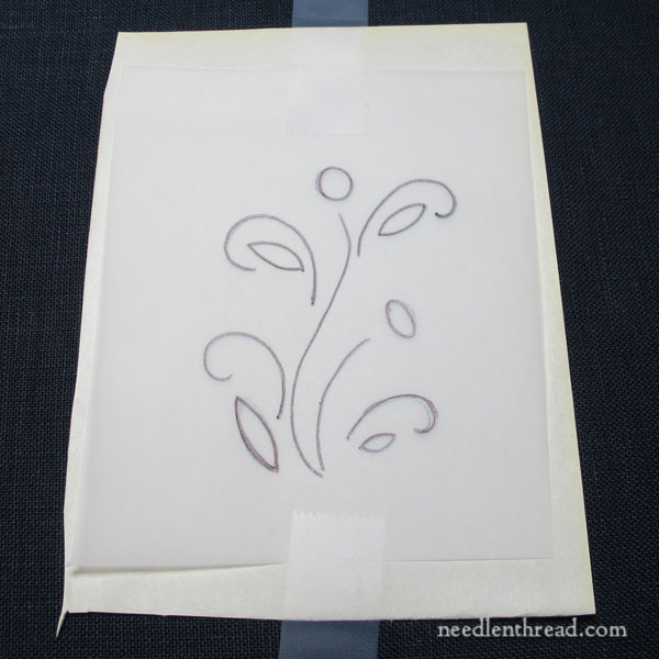 Transferring an embroidery design on dark fabric