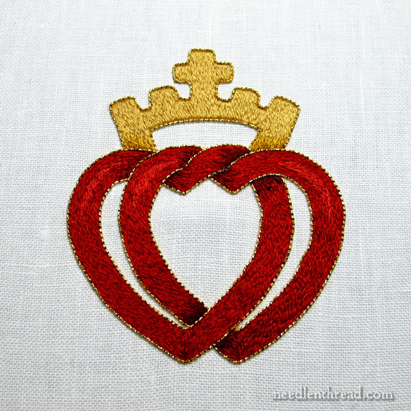 Two Hearts Embroidery Project in Silk and Gold