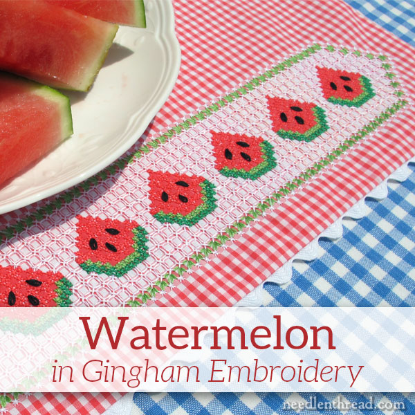 Gingham Embroidery, chicken scratch tutorial - watermelon