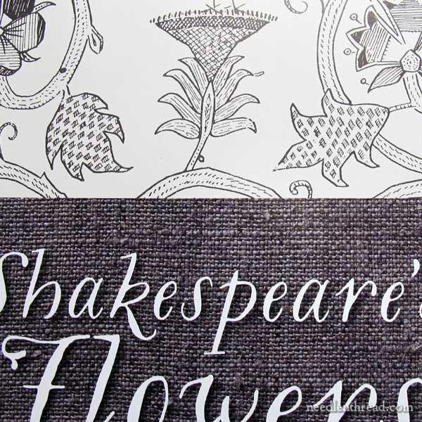 Inside title pages on Shakespeare's Flowers in Stumpwork