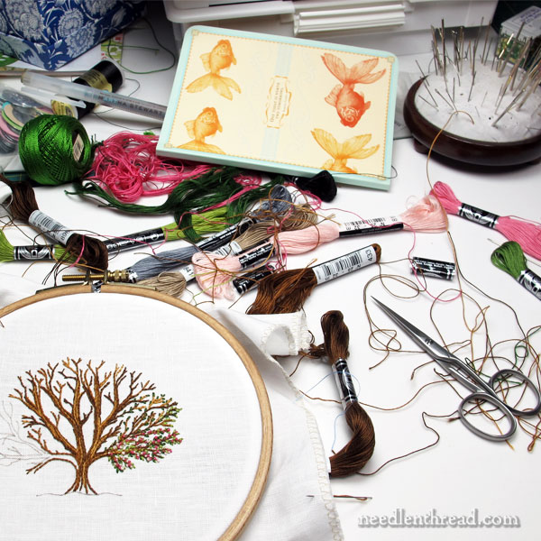 My Workstation for Hand Embroidery - it's a mess!